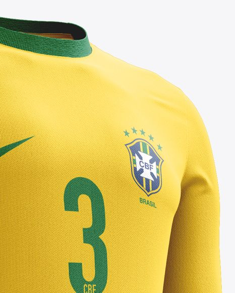 Soccer Kit With Long Sleeve Mockup / Half-Turned View. Preview (Close-Up)