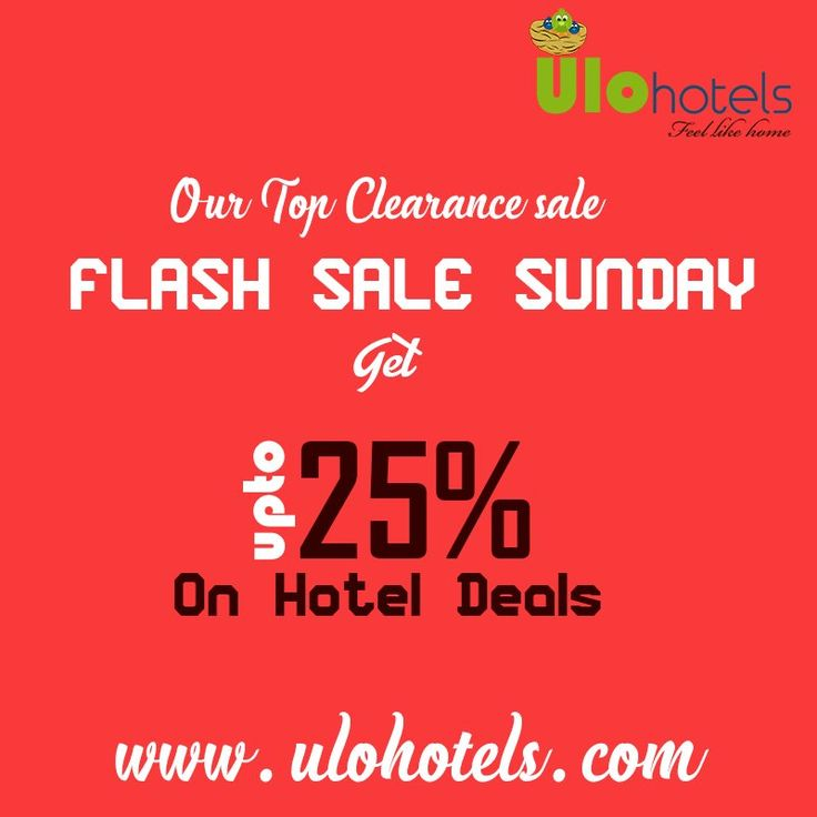 Our top clearance #Sale on #Sunday. Book a room for this Sunday and get 25% offer on all online bookings. For bookings: www.ulohotels.com or Call +91 99 40 61 94 63.