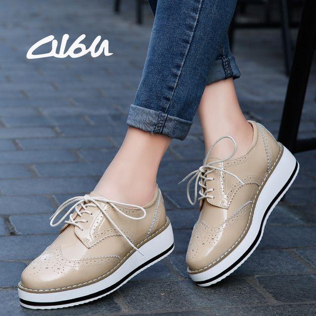 f7a6c3febcf O16U Plataforma de Las Mujeres Zapatos de Charol Oxfords Brogue Pisos Lace  Up Punta estrecha Marca Mujer Calzado Zapatos de las mujeres Enredaderas en  2019 ...