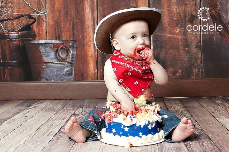Cowboy Theme Cake Smash Babies First birthday!