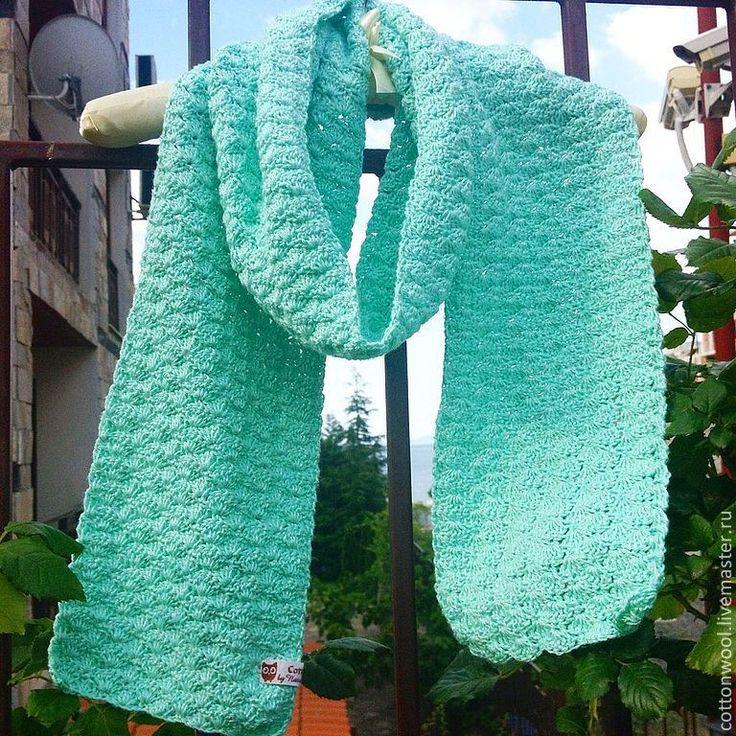 Купить Хлопковый шарф нежно-мятного цвета - мятный, шарф женский, шарфик вязаный