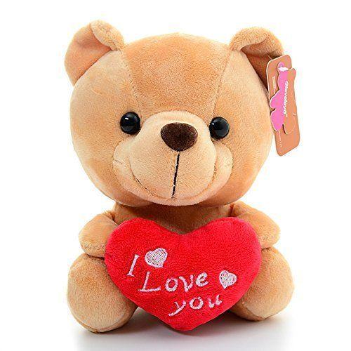 """Gloveleya Plush Teddy Bear With Heart """"I LOVE YOU'' Valentine's Day Lover's Gift #Gloveleya"""