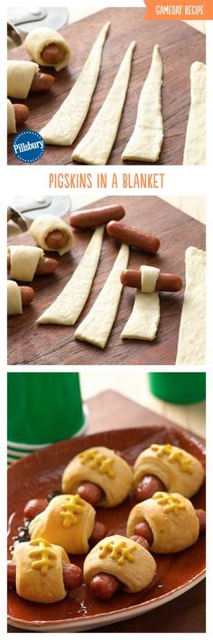 Crescent Dog Footballs (pigskins in a blanket) make game day snacking fun!