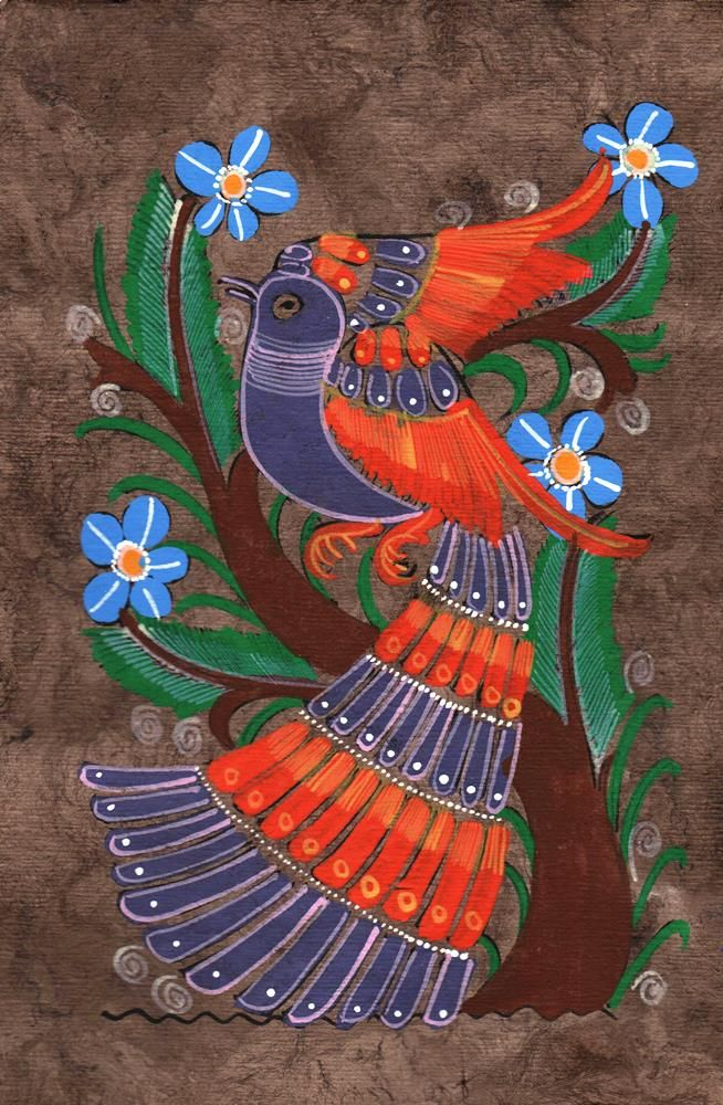 Purple and Brown Bird Amate Painting (SOLD)