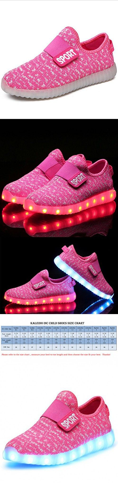 KaLeido Kids 7 Colors LED Light up Shoes Sneakers for Boys Girls (11 M US Little Kid/EU 28, Pink)