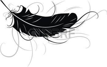 tatouage plume: La plume stylisée sous la forme d'un tatouage Illustration