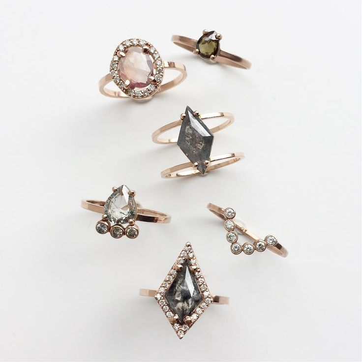 rose gold, black diamond + sapphire engagement rings  ::  Alexis Russell