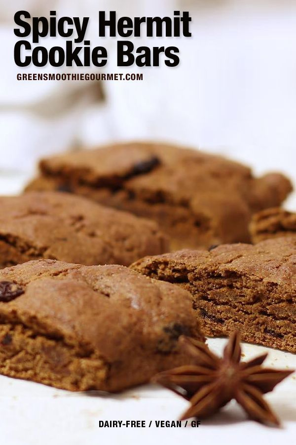 Spicy Hermit Cookie Bars A Soft Spicy Hand Cake Cookie That Is Dairy Free And Oil Free And Bursting With C Hermit Cookies Vegan Dessert Recipes Vegan Cookies