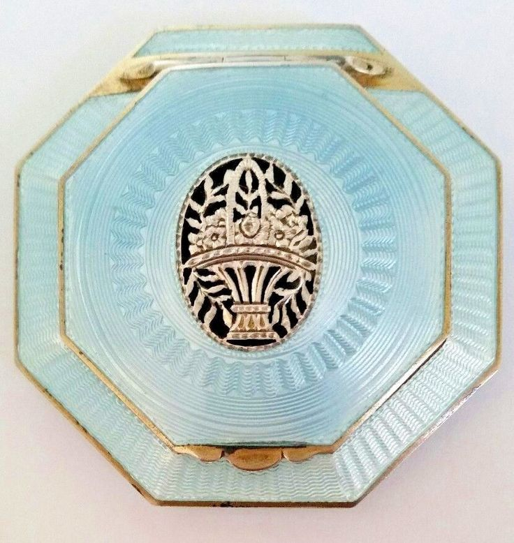 Antique Art Deco Austria Sterling Silver Baby Blue Guilloche OCTAGON Compact SEE | Collectibles, Vanity, Perfume & Shaving, Compacts | eBay!