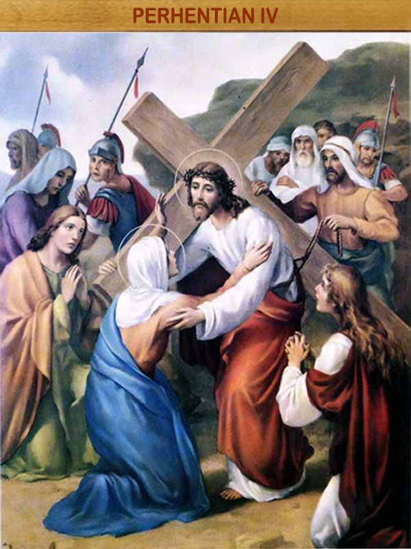 """YESUS BERJUMPA DENGAN IBU-NYA : """"Siapapun yang melakukan kehendak Bapa-Ku di Surga, dialah saudara-Ku laki-laki, dialah saudara-Ku perempuan, dialah ibu-Ku"""" (Mat 12 : 50)."""