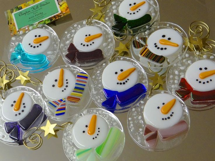 Fused glass snowman ornaments by adele
