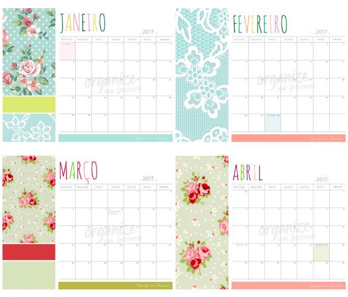 Calendário e Planner Decor 2017 para Imprimir