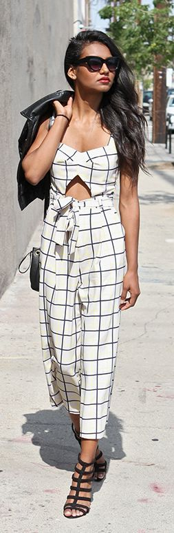 Black And White Grid Jumpsuit by Tuolomee