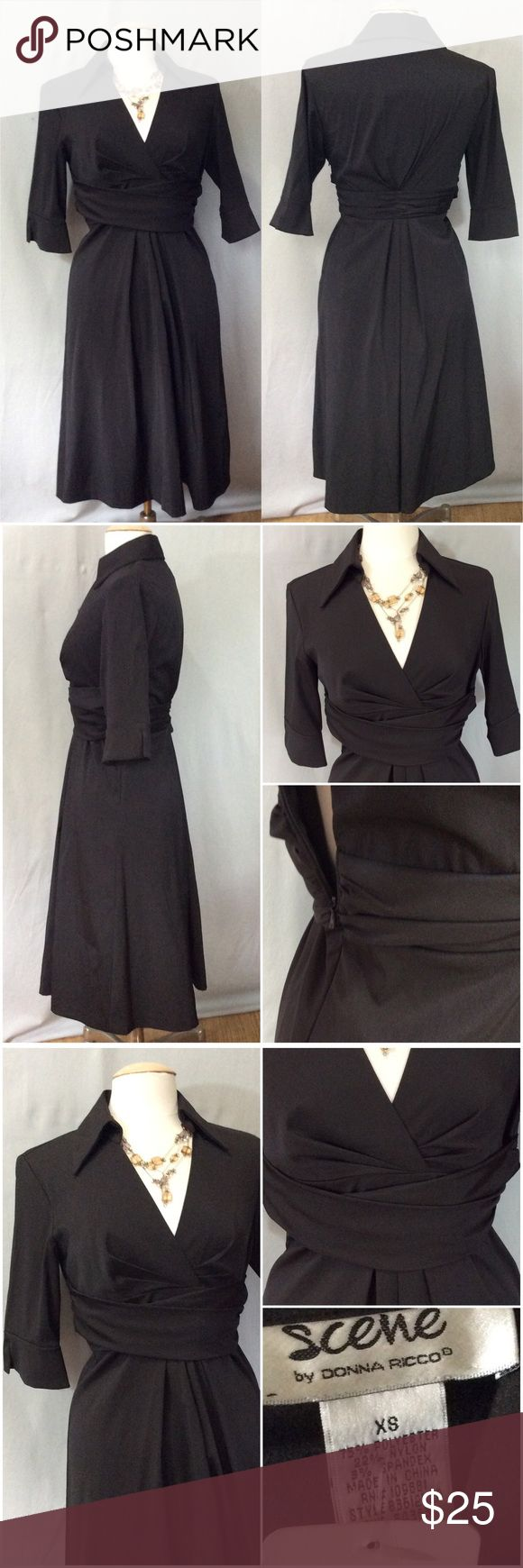NWT Scene by Donna Ricco Black Taffeta Shirt Dress NWT Scene By Donna Ricco Black Taffeta Shirt Dress. Gorgeous Collar and Detailed Waist, Zipper Side Closure. Pulls Over Head. 75% Polyester, 22%Nylon, 3% Spandex. Donna Ricco Dresses Midi