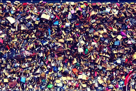 Declarations of love at the Pont des Arts bridge overlooking the River Seine in Paris  #Paris #France #Lovelocks #Parisphotography #PontdesArts #FineArt #TravelPhotography #Travel #FineArtPhotography #WallArt #CityPhotography #StreetPhotography #AbstractArt