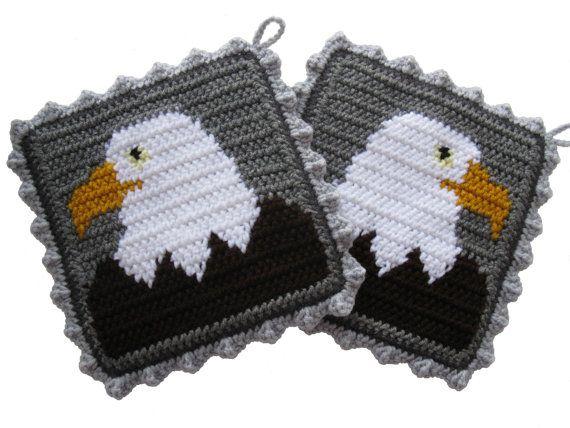 Bald Eagle Pot Holders. Gray crochet potholders with by hooknsaw
