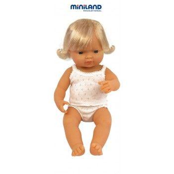 Miniland Anatomically Correct Baby Doll Caucasian Girl, 38 cm