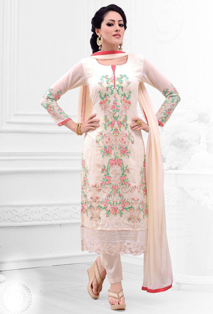 Designer salwar kameez mesmeric peach color net designer suit -  Stylish Cream Georgette Salwar Kameez Designer