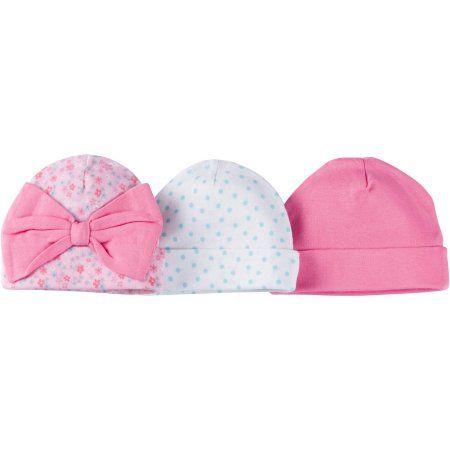 Gerber Newborn Baby Girl Caps, 3-Pack - Walmart.com