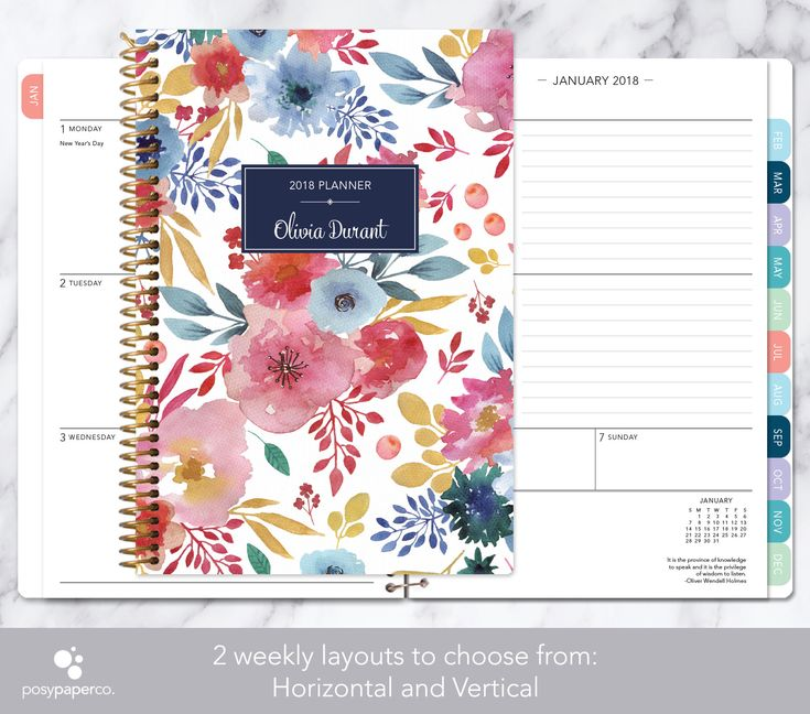 planner 2018 | 12 month calendar | add monthly tabs weekly student planner | personalized planner agenda | pink blue white watercolor floral by posypaper on Etsy https://www.etsy.com/ca/listing/477386260/planner-2018-12-month-calendar-add