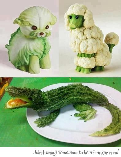 We've never seen vegetables look so cute! They're almost too fun to eat! #Cute #FoodArt #FoodSaver
