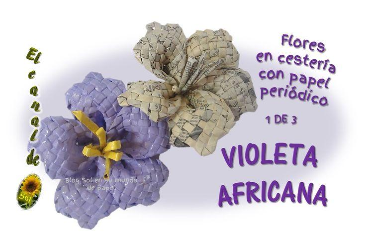 FLORES EN CESTERIA CON PAPEL PERIÓDICO   VIOLETA AFRICANA 1 de 3