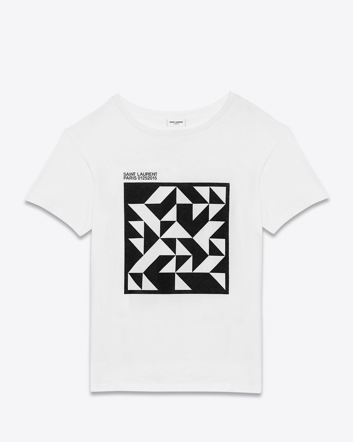 saintlaurent, VINYL T-PROJECT Short Sleeve T-Shirt in White and Black Cotton Jersey