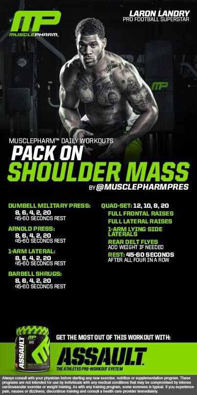 Shoulder mass Muscle pharm workout                                                                                                                                                                                 More