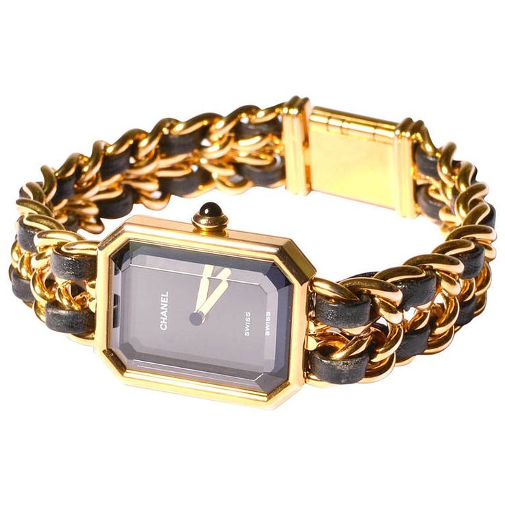 Chanel Premiere Gold Plated Gold Chain & Black Leather Watch