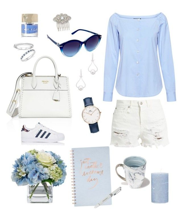Sunday blues by Lisavmstudios on Polyvore featuring polyvore, fashion, style, Theory, R13, adidas, Prada, TARA Pearls, Bloomingdale's, Daniel Wellington, Nina, Nanette Lepore, Smith & Cult, iHome, Jordan Carlyle, Fringe, Broste Copenhagen, Diane James and clothing