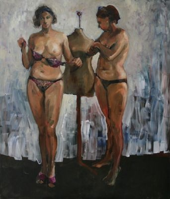 "Zaborowski's palette is subdued. There is often a mixture of beauty and a gnawing sense of melancholy in his paintings.  Three Graces II | 67"" x 57"" 
