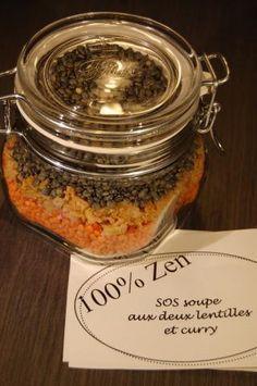 SOS soupe aux deux lentilles et curry, en bocal
