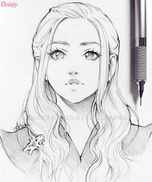 Beautiful Animated Anime Manga Female Drawing Face Sketch Anime Drawings Sketches Sketches Art Sketches