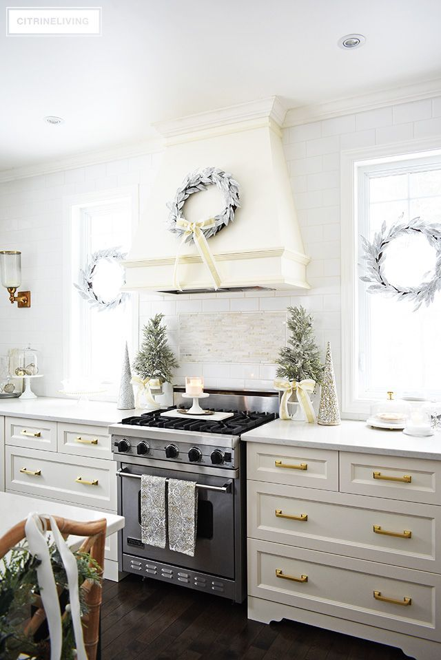 Christmas Kitchen Decorating Silver Gold Greenery Kitchen Design Decor Christmas Kitchen Decor Kitchen Decor