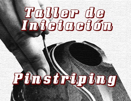 Taller Iniciación Pinstriping en Madrid (3,5 horas) Presentación de materiales y sencillas prácticas. REGALO  de note de esmalte (enamel) Custom Creative y un pincel Mack.