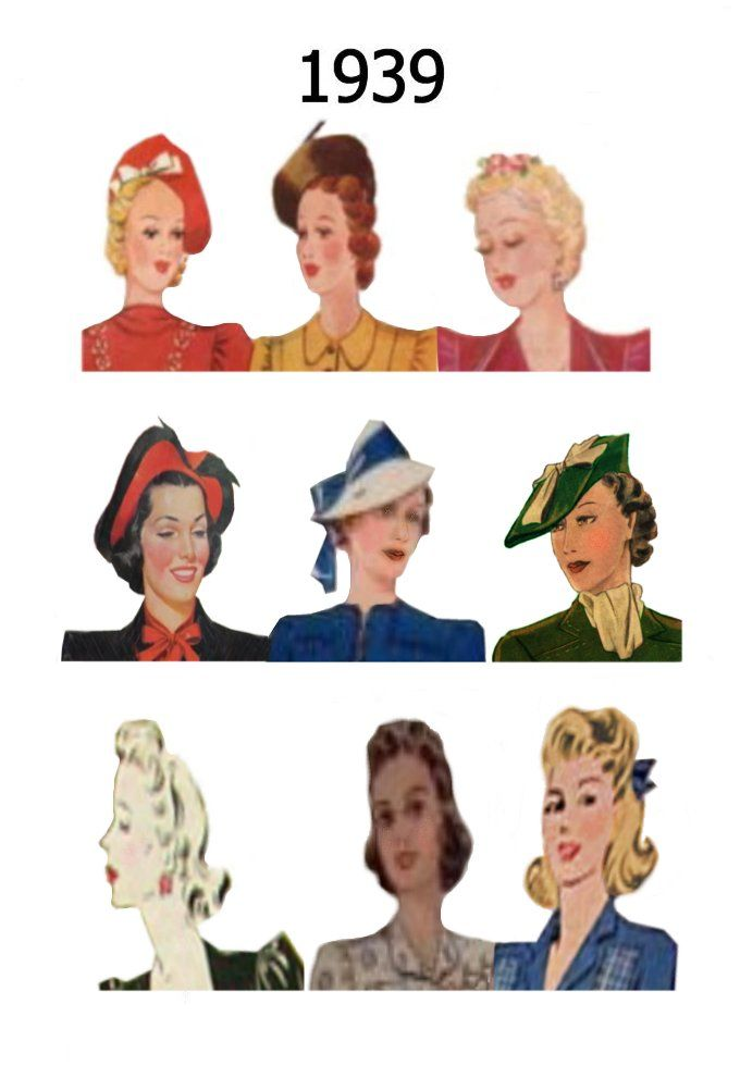 Click these thumbnails to enlarge each year of 1936, 1937, 1938 and 1939 into an A4 page of images of hairstyles and hats. Description from fashion-era.com. I searched for this on bing.com/images