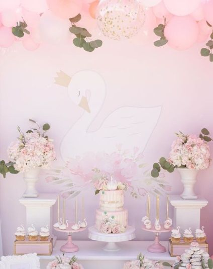 Pink Swan Baby Shower Ideas First Birthday Tablescape In