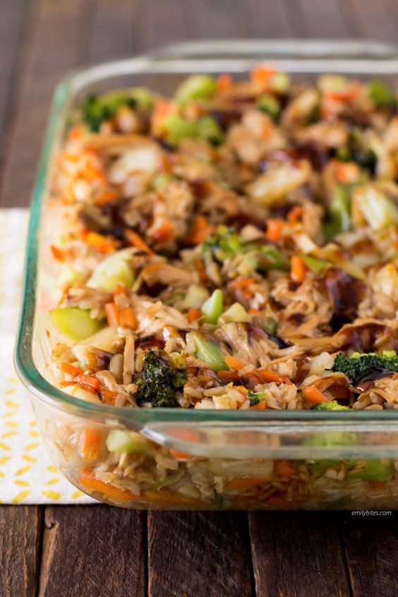 This Teriyaki Chicken and Rice Casserole is delicious filling and healthy with…