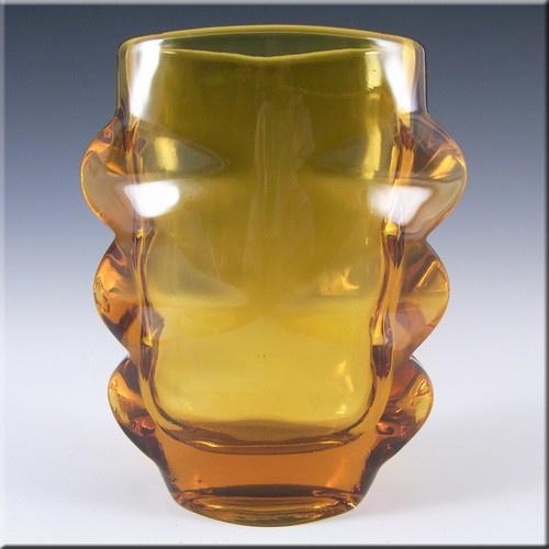Sklo Union 1970s Rosice Amber Glass Vase - Pattern 1272 £34.99