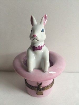 Limoges Bunny Rabbit In The Hat Box