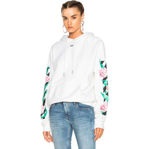 OFF-WHITE Tulip Diagonal Hoodie (930 AUD) ❤ liked on Polyvore featuring tops, hoodies, sweatshirts & hoodies, cotton hoodies, off white hoodie, tulip top, hoodie top and sweatshirt hoodies