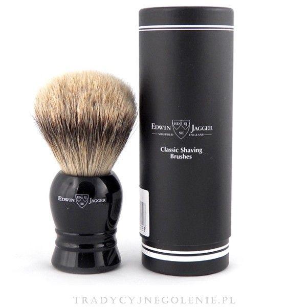 Najwyższej klasy bardzo duży pędzel do golenia Edwin Jagger z najwyższej jakości ręcznie selekcjonowanego włosia borsuka klasy super badger. Rączka w kolorze czarnym, na rączce logo Edwin Jagger.