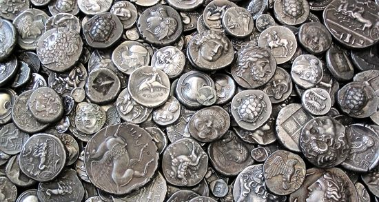 A lot of silver replicas of antient coins by www.antiquanova.com