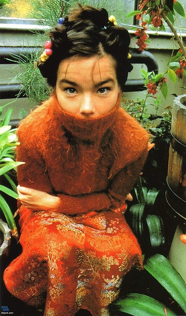 Bjork I met her once in Royal Oak skate park London. She used to pass the skatepark most days with a panda bear backpack, keeping away from the main streets where she would be recognised on her way down to recording studios in Portobello.Shes beautiful because she doesn't care what people think about her..A true musical genius