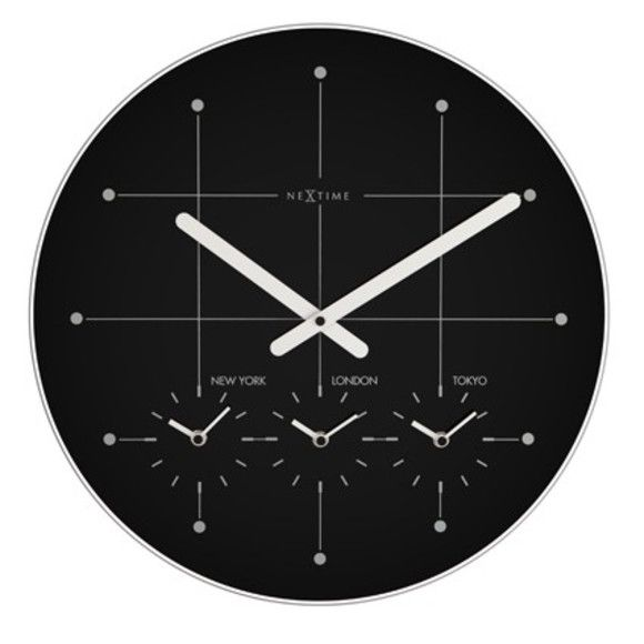 This large Big City Clock has 4 independent mechanisms. You can be on time in New York, London, and Tokyo simultaneously. Practical and stylish it will be perfect for your decoration in your home or office  Main Material: FROSTED GLASS Diameter (cm): 43 CM Weight (kg): 1.56 Battery Type: AA Number of Batteries: 4