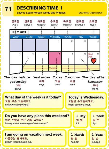 71 Learn Korean Hangul describing time 1 #korean