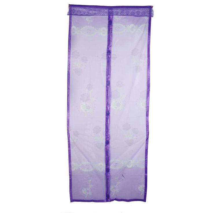 200cm x 70cm Flower Pattern Anti Mosquito Bug Mesh Magnetic Screen Door Purple