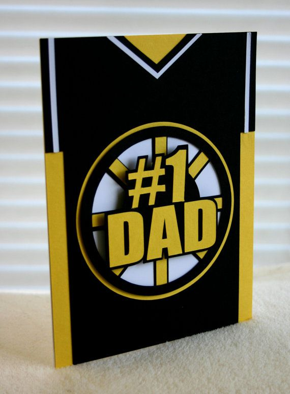 Fathers Day Sports Jersey Card -Boston hockey jersey. Bruins Black and Yellow- by SassaScraps on Etsy, $4.00