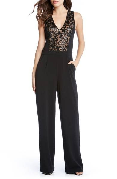 This sleek jumpsuit is your new LBD with its lacy sequined bodice, defined waist and flowy wide legs that create a head-turning silhouette.