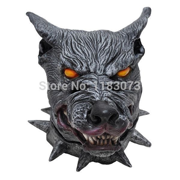 Horror Wolf Latex Rubber Mask Animal Black Wolf Full Head Scary Masks for Halloween Creepy Costume Prop Free Shipping